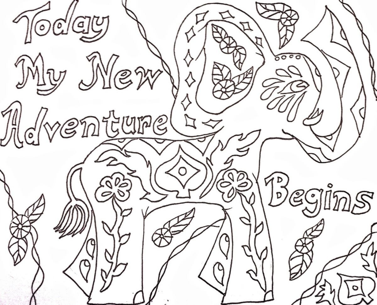 A New Adventure: Coloring Page with Affirmation
