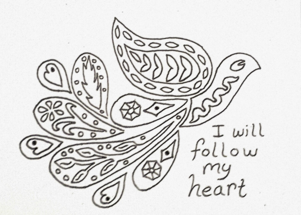 Follow Your Heart: Coloring Page with Affirmations