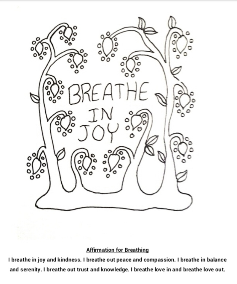 Breathing in joy coloring page and affirmation for Joy coloring pages