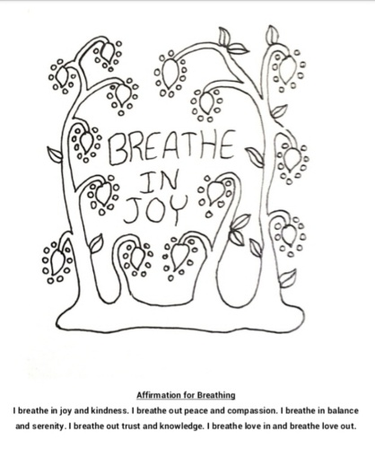 Breathe in joy coloring page
