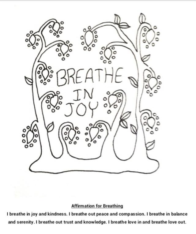 Breathe in joy coloring page