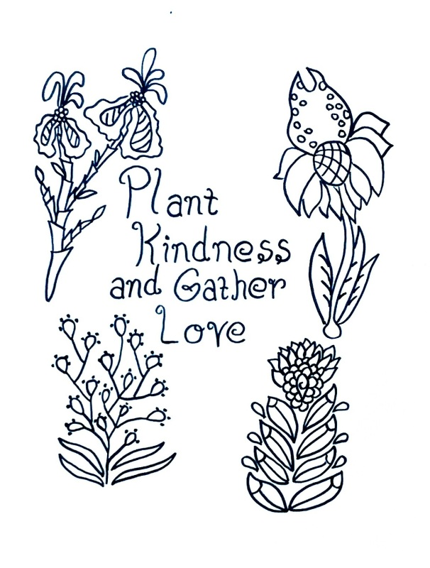 Free Coloring Pages Showing Kindness. Plant Kindness and Gather Love  Free Coloring Page Individual Empowerment