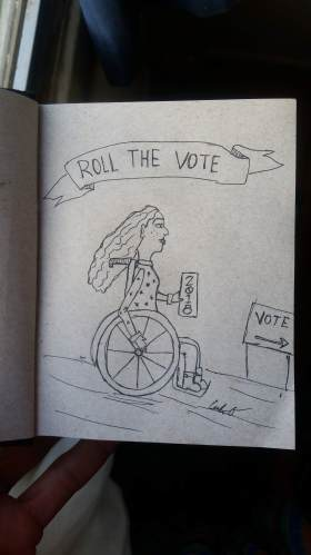 roll the vote wheelchair art