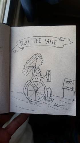 roll the vote wheelchair art